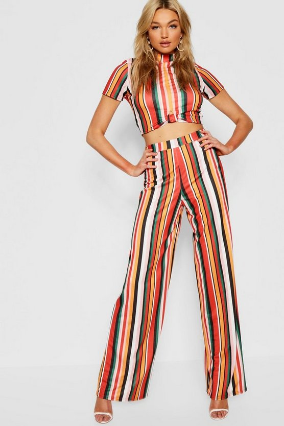Tall Twist Front Crop & Wide Leg Pants Co-Ord