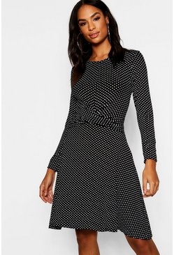Womens Tall Twist Front Polka Dot Skater Dress