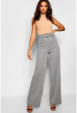 Womens Black Tall Dogtooth Buckle Detail Trousers