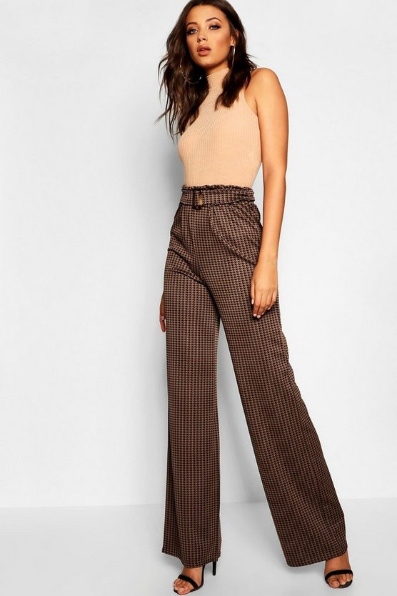 Tall Dogtooth Buckle Detail Trousers