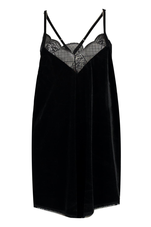 Camisola Tall negro velvetón con encaje adorno en en xCrCYwZq