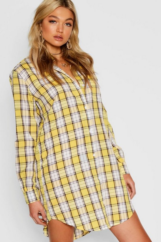Womens Yellow Tall Check Shirt Dress