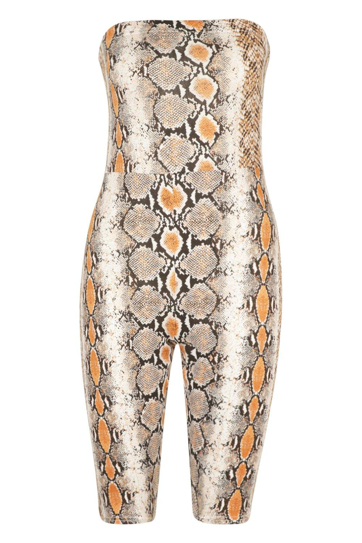 con marrón serpiente ceñido Tall estampado de Mono bandeau w0qXqE