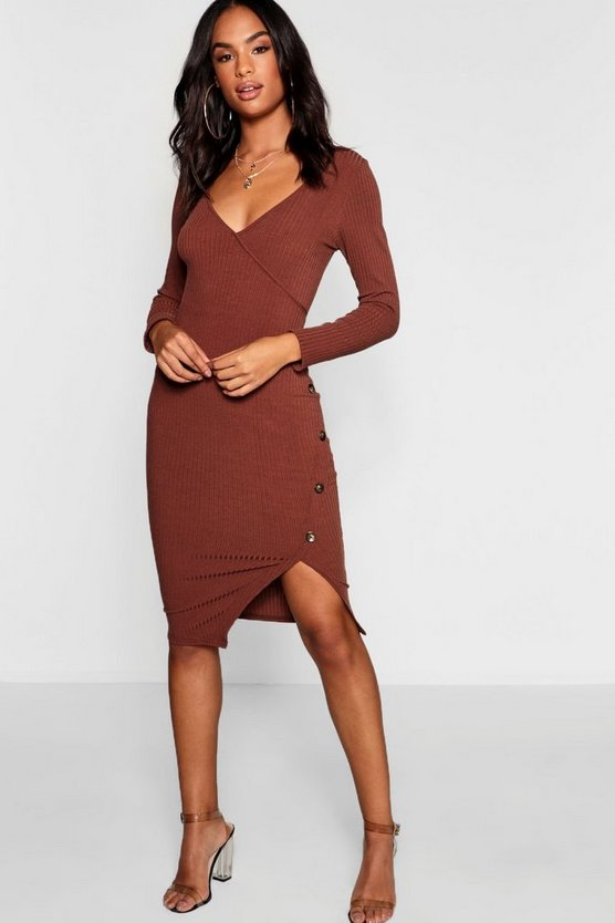 Womens Chocolate Tall Button Front Rib Wrap Dress