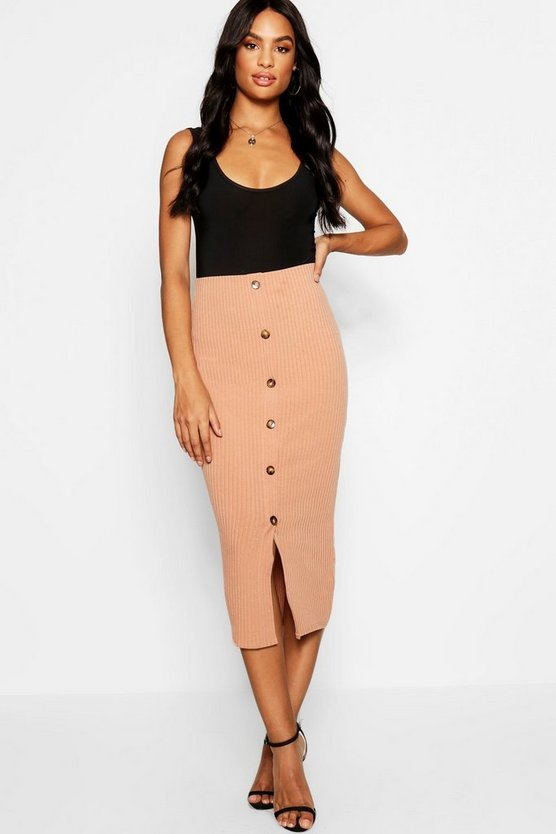 Womens Camel Tall Button Front Rib Bodycon Skirt