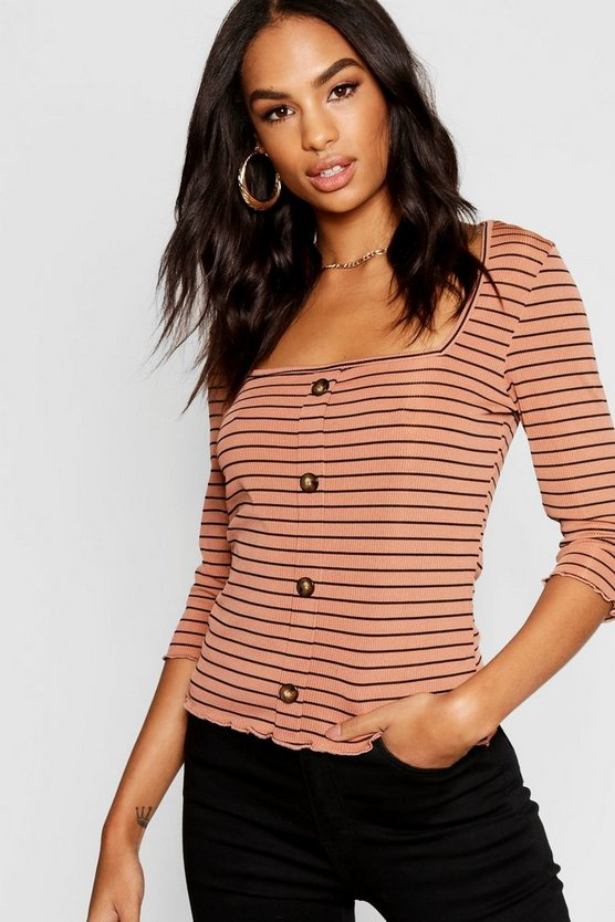 Tall Stripe Rib Button Front Top