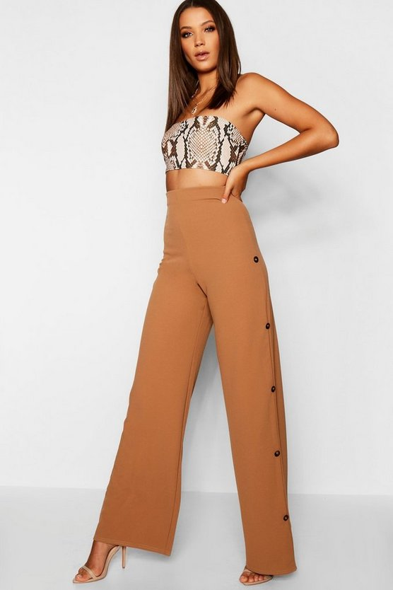 Tall Horn Button Detail Wide Leg Trouser