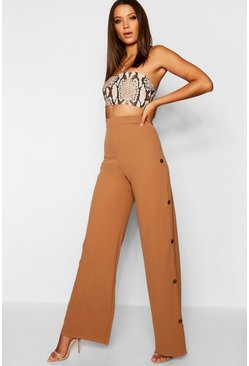 Womens Camel Tall Horn Button Detail Wide Leg Trouser