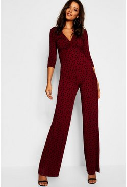 Womens Wine Tall Twist Front Polka Dot Jumpsuit