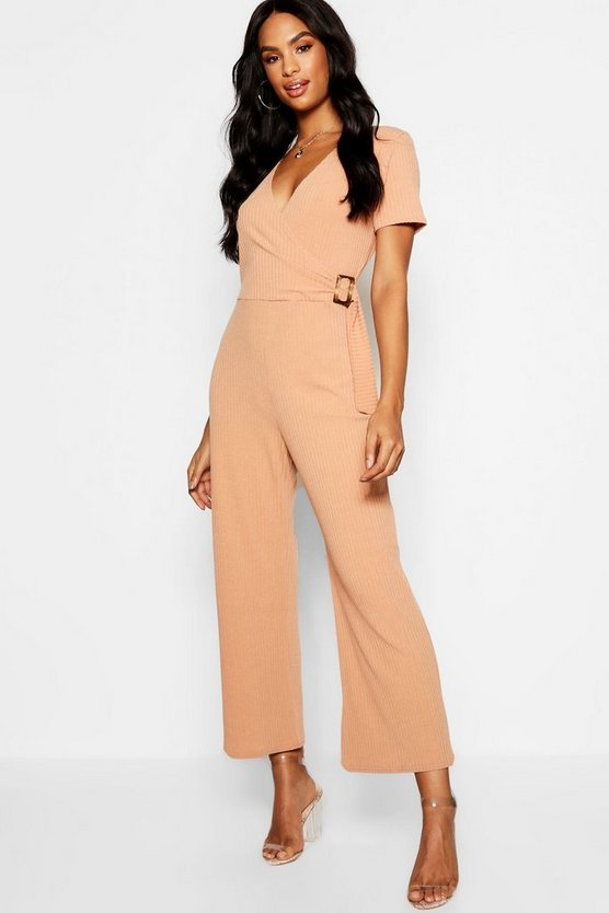 Womens Camel Tall Rib Wrap Buckle Culotte Jumpsuit