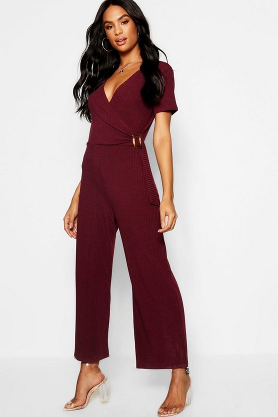Tall Rib Wrap Buckle Culotte Jumpsuit