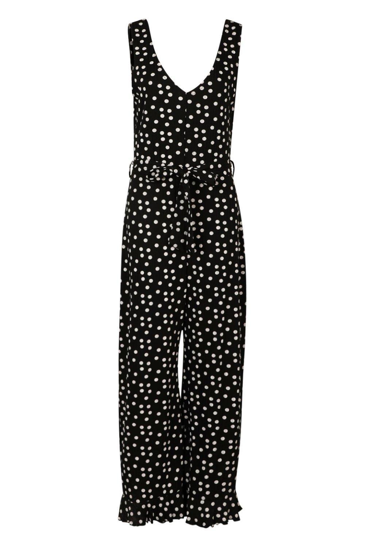 culotte largo Tall la en estilo atado canalé Mono negro en lunares a cintura Y4BqxWd