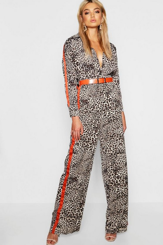 Tall Animal Side Stripe Wide Leg Trouser