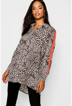 Womens Brown Tall Animal Side Stripe Oversized Shirt