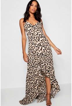 Womens Brown Tall Leopard Strappy Ruffle Maxi Dress