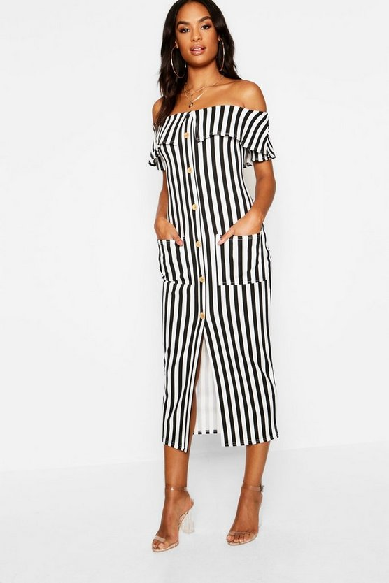 Womens Black Tall Bardot Stripe Button Midi Dress