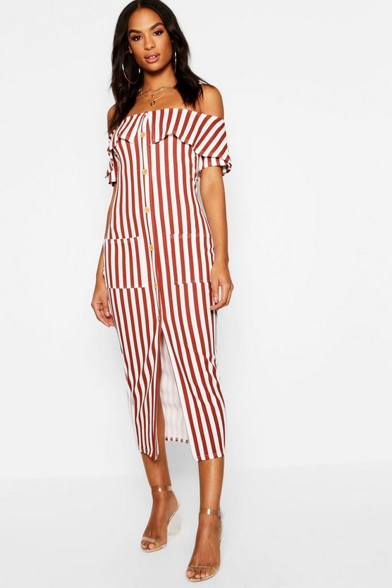 Tall Bardot Stripe Button Midi Dress