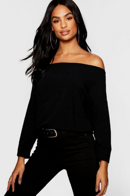 Black Tall Off The Shoulder Rib Knit Sweater