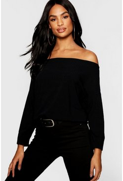 Black Tall Off The Shoulder Rib Knit Jumper