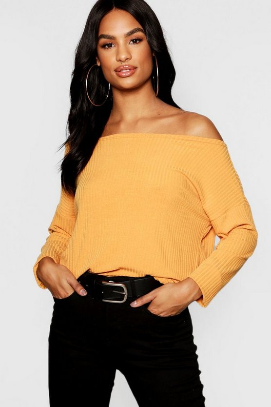 Womens Mustard Tall Off The Shoulder Rib Knit Sweater