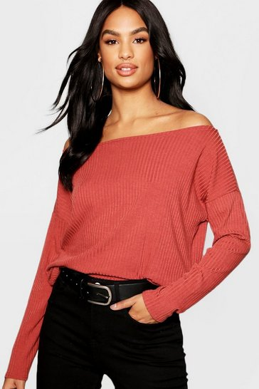 Womens Rust Tall Off The Shoulder Rib Knit Jumper