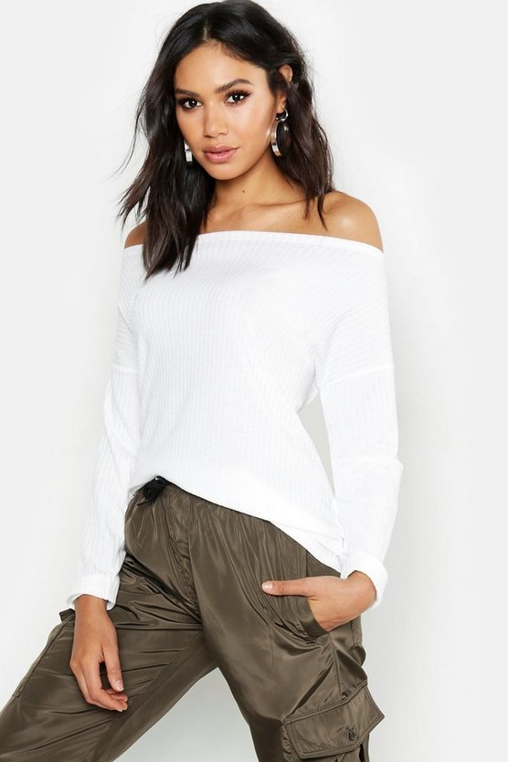 Tall Off The Shoulder Rib Knit Jumper