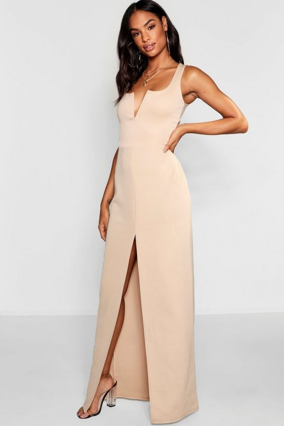 Womens Stone Tall V Bar Maxi Dress