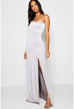 Womens Dove Tall One Shoulder Slinky Maxi