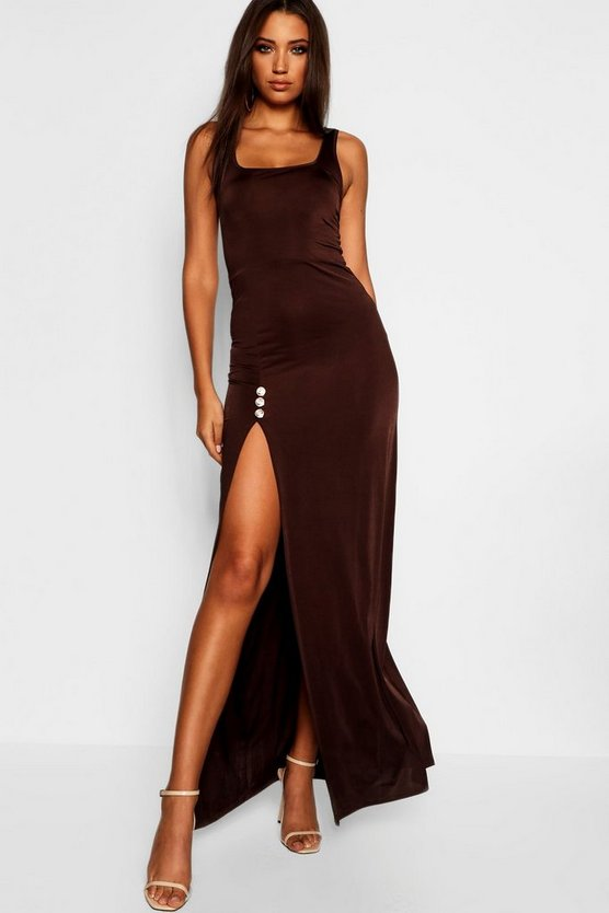 Tall Button High Split Maxi Dress