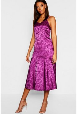 Womens Purple Tall Leopard Jacquard Satin Midi Dress