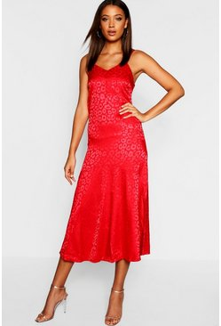 Womens Red Tall Leopard Jacquard Satin Midi Dress