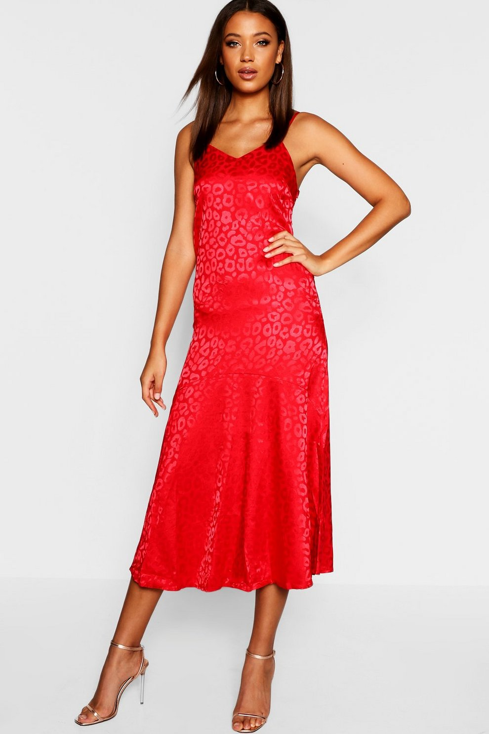 488e8bac841 Womens Red Tall Leopard Jacquard Satin Midi Dress