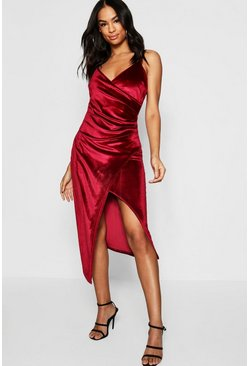 Womens Berry Tall Velvet Wrap Midi Dress