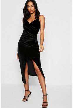 Black Tall Velvet Wrap Midi Dress