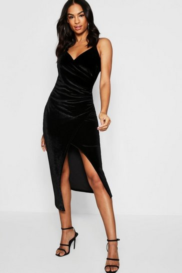 Womens Black Tall Velvet Wrap Midi Dress