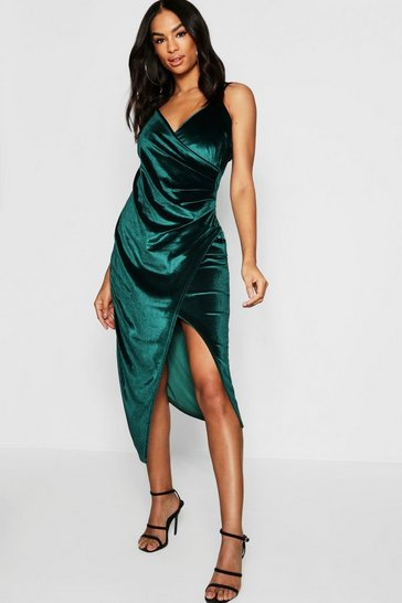 Womens Emerald Tall Velvet Wrap Midi Dress