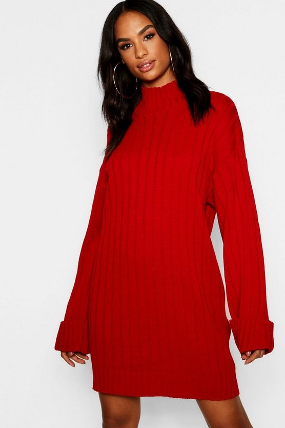 Tall Wide Sleeve Turn Up Cuff Jumper Dress