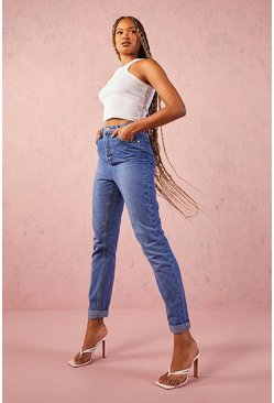 Womens Mid blue Tall Turn Up Cuff Mom Jean