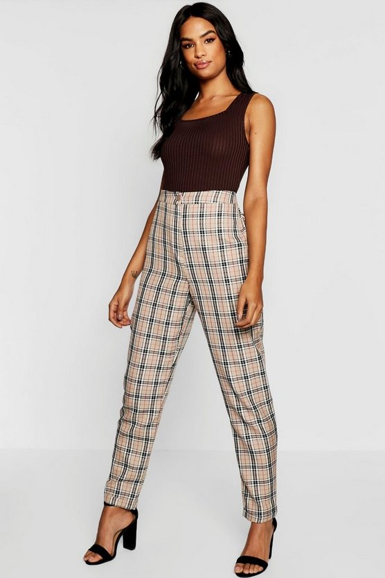 Tall Checked Woven Tapered Trousers