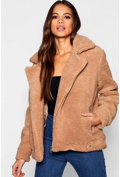 Aviateur Teddy en fausse fourrure Tall, Marron