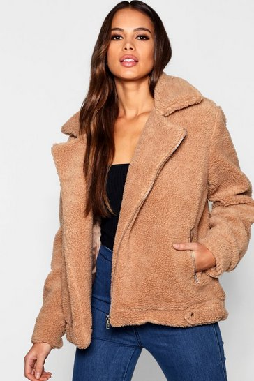 Brown Tall Teddy Faux Fur Aviator