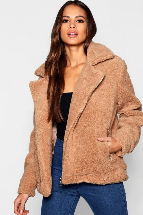 Womens Brown Tall Teddy Faux Fur Aviator