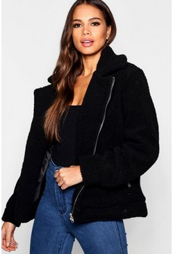 Womens Black Tall Teddy Faux Fur Aviator