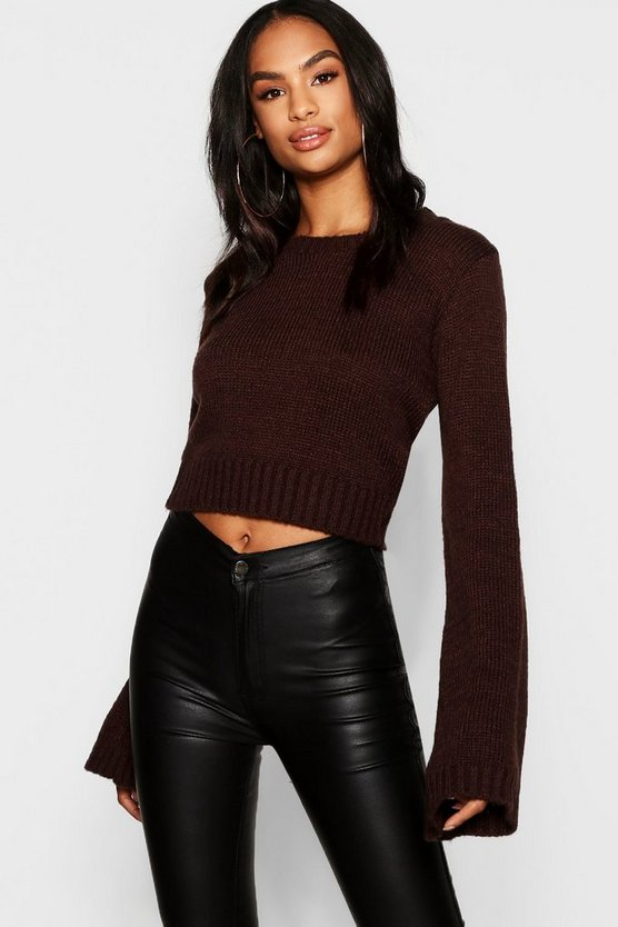 Womens Chocolate Tall Wide Sleeve Jumper