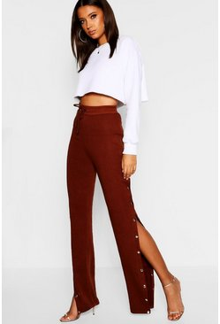 Womens Chocolate Tall Popper Detail Jogger