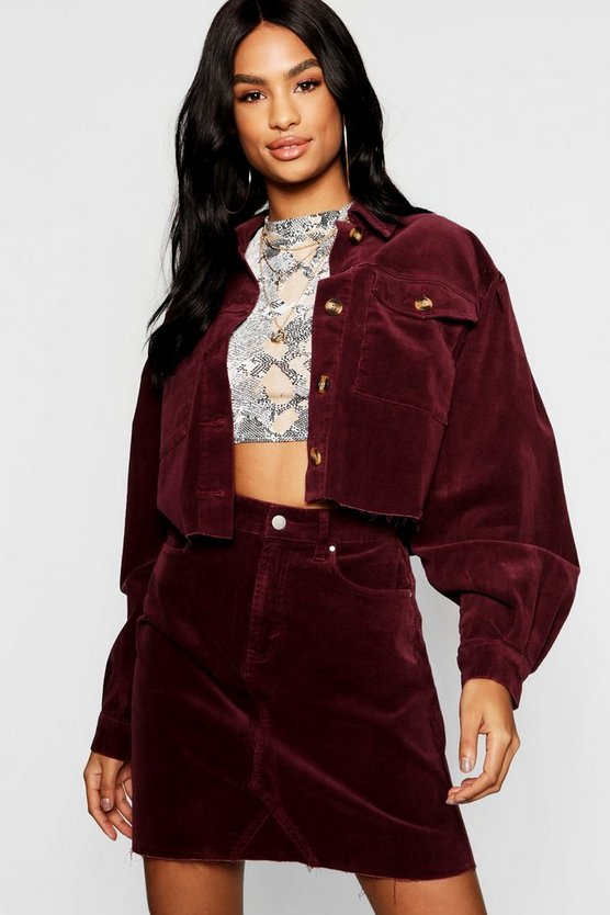 Tall Mock Horn Button Crop Cord Jacket