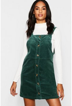 Womens Emerald Tall Mock Horn Button Cord Pinafore