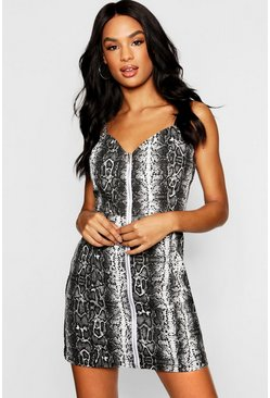 Womens Grey Tall Snake Print Zip Through Denim Dress