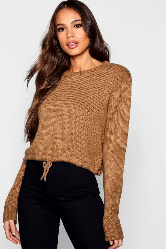 Womens Camel Tall Ruched Hem Soft Knit Jumper