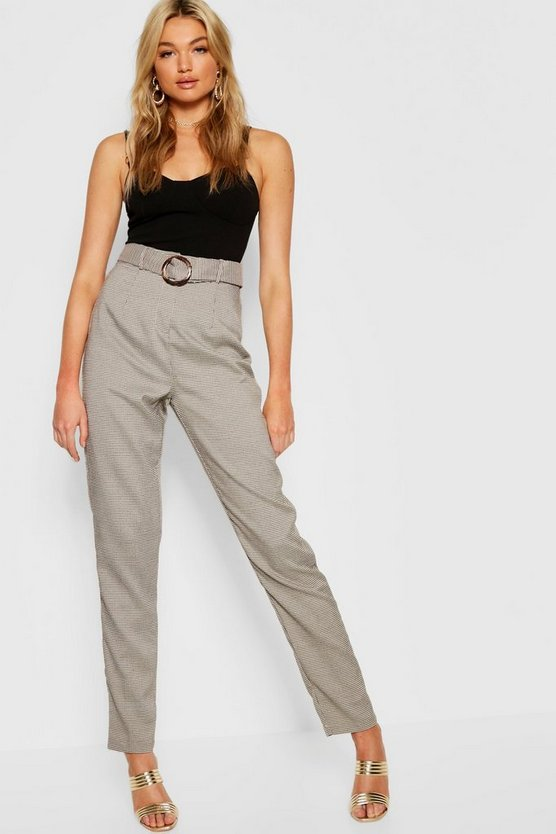 Brown Tall Dogtooth Buckle Belted Pants